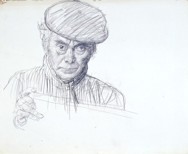 MIYAMOTO Saburo, Self-portrait with Beret, 1967, Setagaya Art Museum