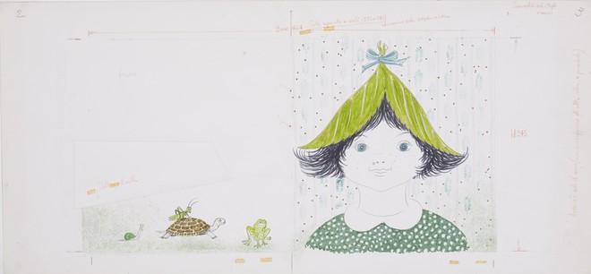 「作品は無限の変化の一つとして出現する」より ブルーノ・ムナーリ 《『みどりずきんちゃん』のためのイラストレーションとレイアウト》 制作年不詳(1972年)  パルマ大学CSAC © Bruno Munari. All rights reserved to Maurizio Corraini srl. Courtesy by Alberto Munari